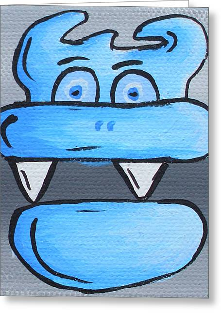 Character Portraits Paintings Greeting Cards - Blue Debil Greeting Card by Jera Sky