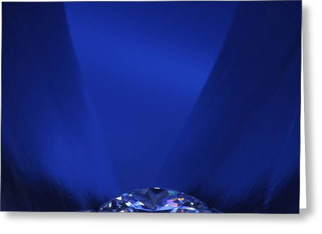 Blue Diamond In Blue Light Greeting Card by ATIKETTA SANGASAENG