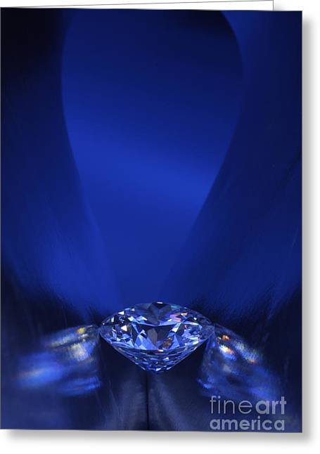 Lit Jewelry Greeting Cards - Blue Diamond In Blue Light Greeting Card by Atiketta Sangasaeng