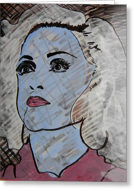 Canadian Photographer Drawings Greeting Cards - Blue Donna Greeting Card by Marwan George Khoury