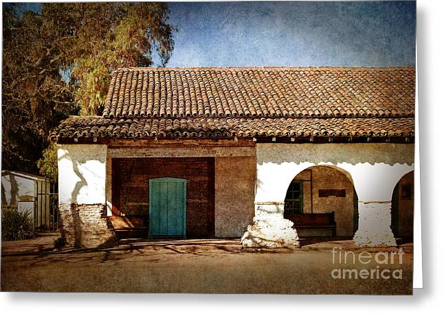 Doorway Digital Greeting Cards - Blue Door at San Juan Bautista Greeting Card by Laura Iverson