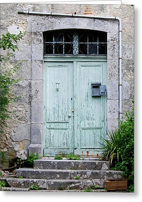 French Doors Greeting Cards - Blue Door in Vianne France Greeting Card by Marion McCristall