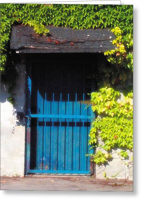 Sunlit Door Greeting Cards - Blue Door Greeting Card by Jeanette Charlebois