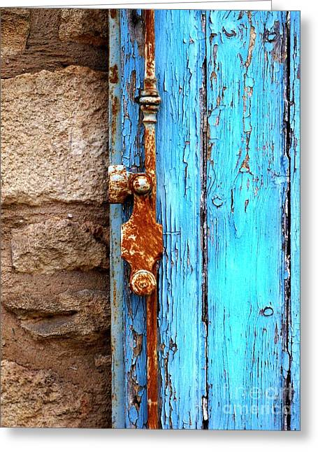 Ruse Greeting Cards - Blue Door Greeting Card by Newel Hunter