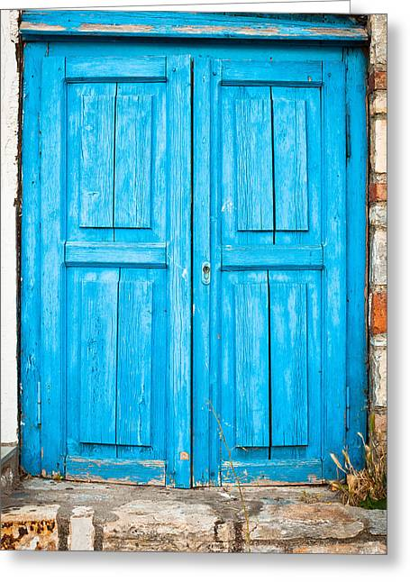 Abandoned Houses Greeting Cards - Blue door Greeting Card by Tom Gowanlock