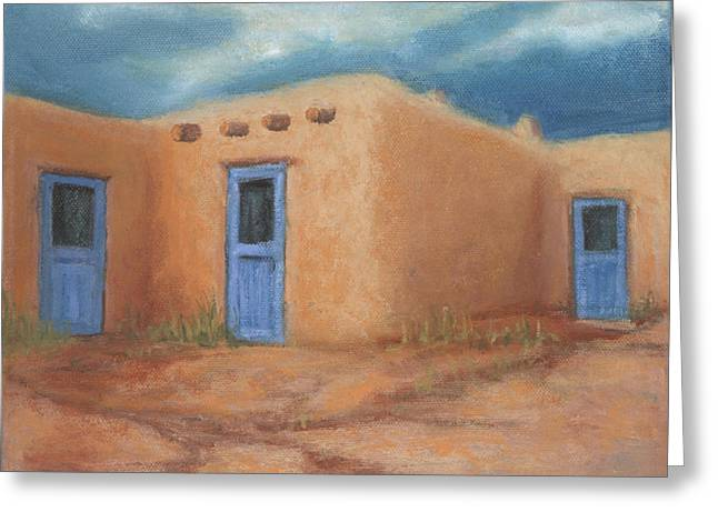 Jerry Mcelroy Greeting Cards - Blue Doors in Taos Greeting Card by Jerry McElroy