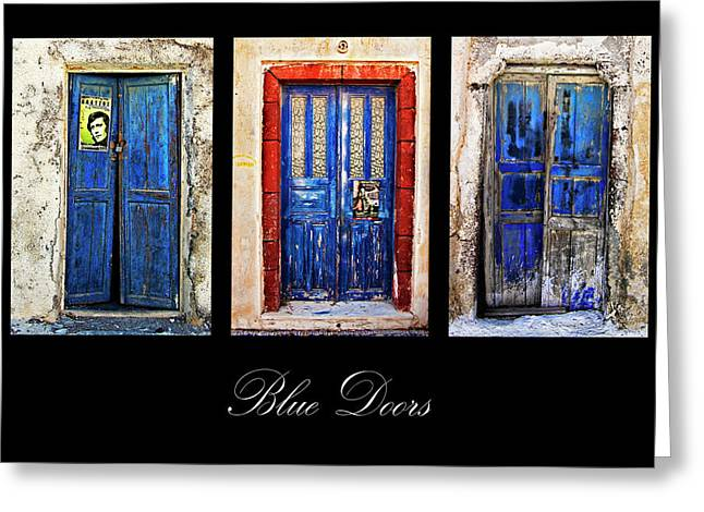 Traditional Doors Greeting Cards - Blue Doors Of Santorini Greeting Card by Meirion Matthias