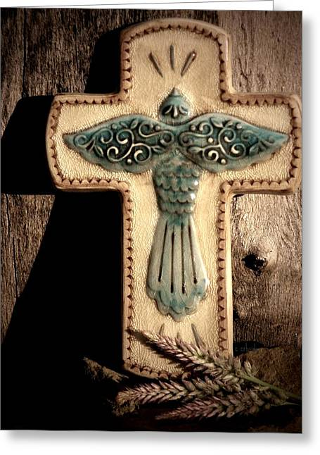 Crucifix Greeting Cards - Blue Dove Greeting Card by Chris Berry