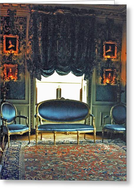 Wood Castle Greeting Cards - Blue Drawing Room Greeting Card by DigiArt Diaries by Vicky B Fuller