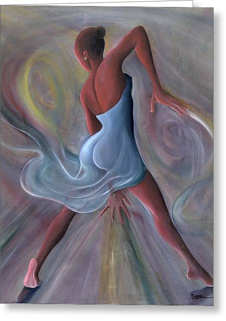 Curved Greeting Cards - Blue Dress Greeting Card by Ikahl Beckford