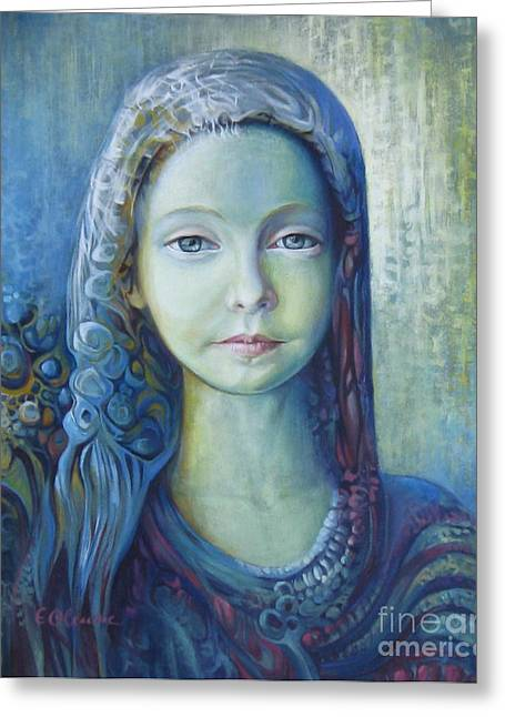 Woman Head Prints Greeting Cards - Blue Greeting Card by Elena Oleniuc