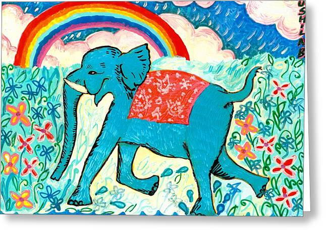 Clouds Ceramics Greeting Cards - Blue Elephant and Rainbow Greeting Card by Sushila Burgess