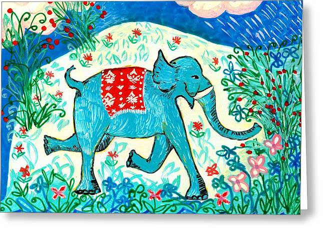 Elephant Ceramics Greeting Cards - Blue elephant facing right Greeting Card by Sushila Burgess
