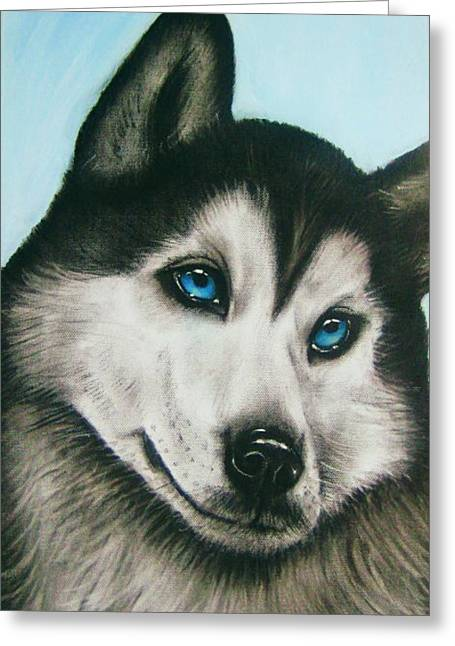 Acrylic Pastels Greeting Cards - blue eye Husky  Greeting Card by Anastasis  Anastasi