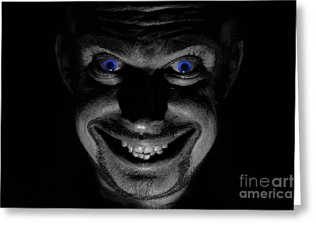 Toothy Smile Greeting Cards - Blue eyed demon Greeting Card by Guy Viner