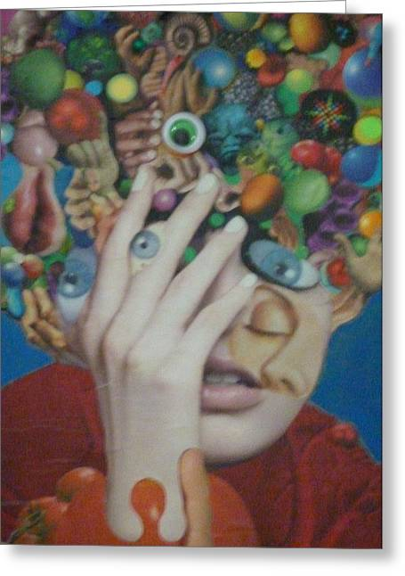 Blue-eyed Hand Greeting Card by Douglas Fromm