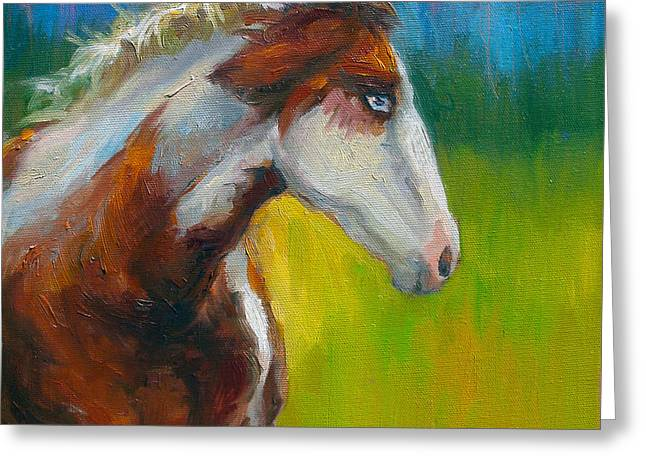 Realistic Drawings Greeting Cards - Blue-eyed Paint Horse oil painting print Greeting Card by Svetlana Novikova
