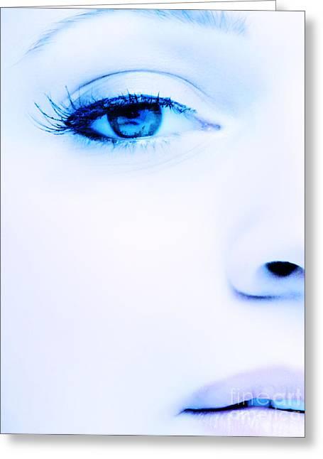 Female. Sensitivity Greeting Cards - Blue eyes Greeting Card by Iryna Shpulak