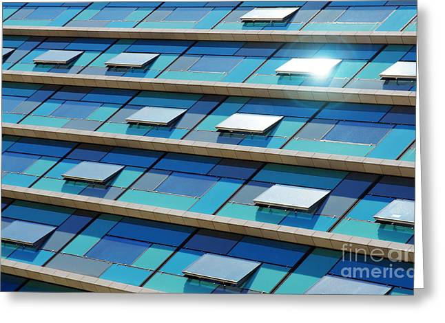 Center City Greeting Cards - Blue Facade Greeting Card by Carlos Caetano
