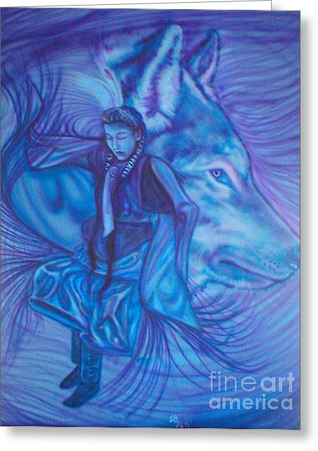 Fancy-dancer Paintings Greeting Cards - Blue Fancy Greeting Card by Kerdy Mitcho
