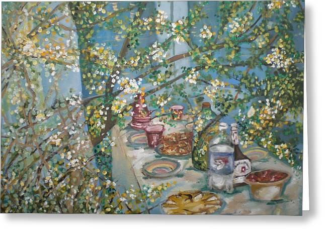 Dinner Paintings Greeting Cards - Blue Feast Greeting Card by Aleksandra Buha