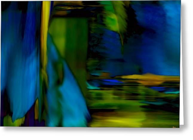 Mathilde Vhargon Greeting Cards - Blue Feather Reflections Greeting Card by Mathilde Vhargon