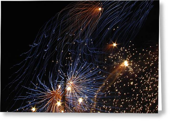 Blue Fireworks Greeting Cards - Blue Fireworks Greeting Card by Denise Keegan Frawley
