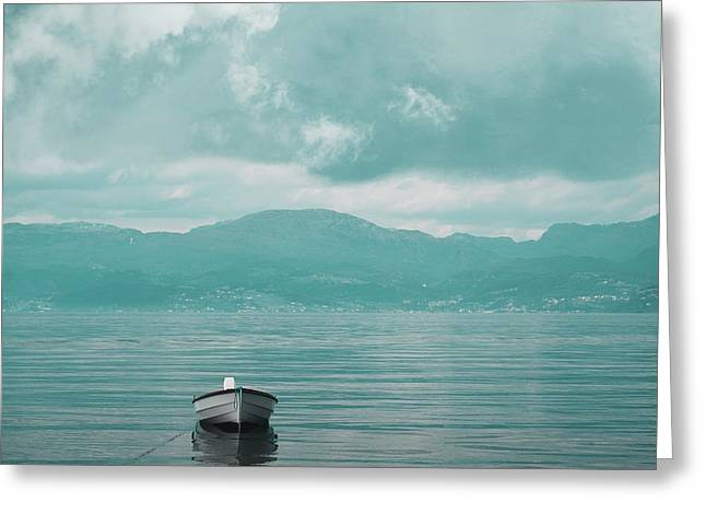 Beach Photos Greeting Cards - Blue fjord Greeting Card by Sonya Kanelstrand
