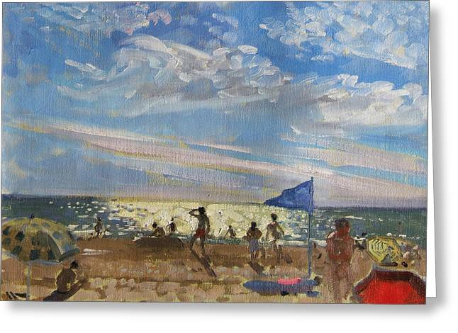 Sun Shade Greeting Cards - Blue flag and red sun shade Greeting Card by Andrew Macara