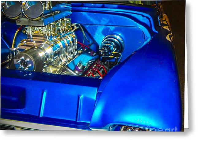 Tricked-out Cars Greeting Cards - Blue Flamer Greeting Card by Chuck Re