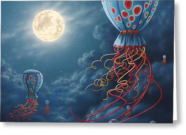 Blue Floaters Greeting Card by Lynette Cook