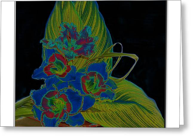 Blue Floral  Greeting Card by Diana  Tyson