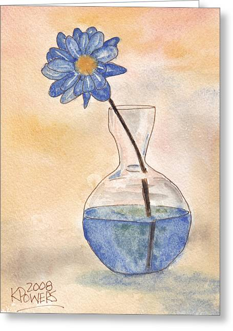 Glass Vase Greeting Cards - Blue Flower and Glass Vase Sketch Greeting Card by Ken Powers