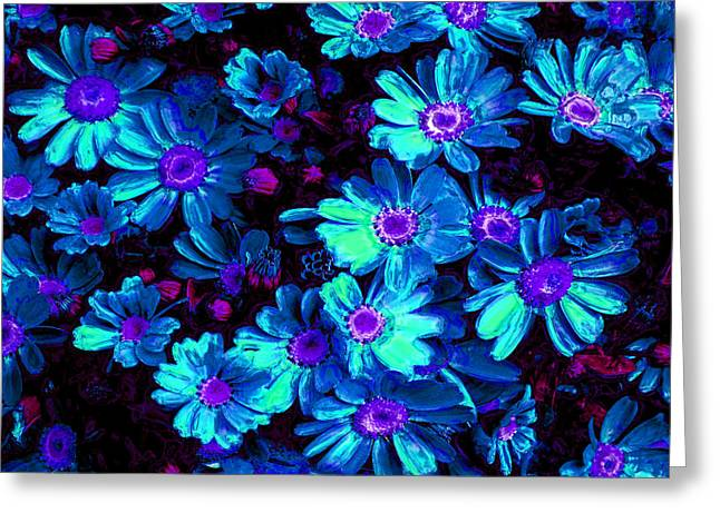 Special Occasion Digital Art Greeting Cards - Blue Flower Arrangement Greeting Card by Phill Petrovic