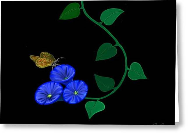 Blue Flower Butterfly Greeting Card by Rand Herron