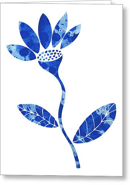 Grungy Paintings Greeting Cards - Blue Flower Greeting Card by Frank Tschakert