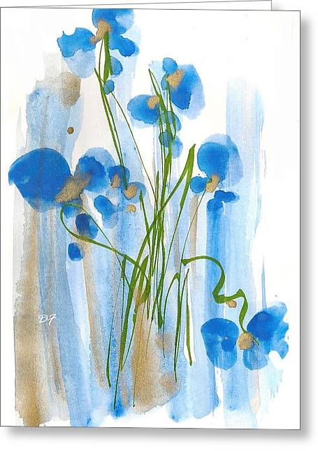 Spring Floods Drawings Greeting Cards - Blue Flowers Greeting Card by Darlene Flood