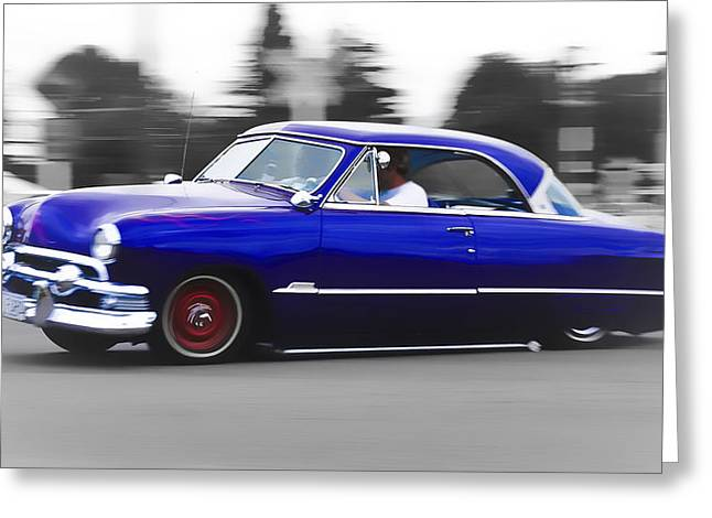 Ford Hotrod Greeting Cards - Blue Ford Customline Greeting Card by Phil