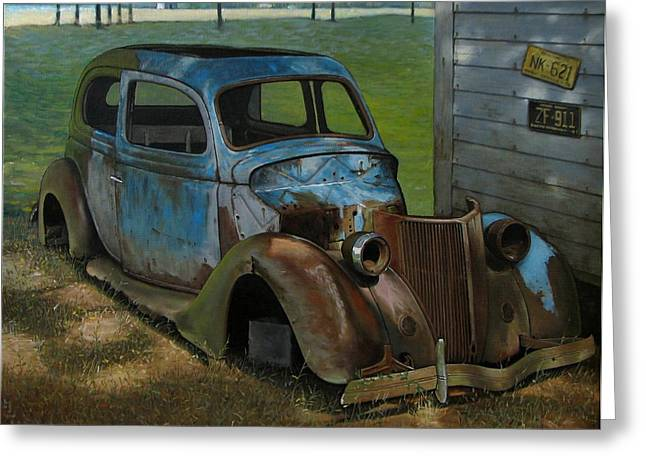 Rusted Cars Paintings Greeting Cards - Blue Ford Greeting Card by Doug Strickland
