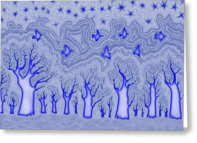 Surreal Landscape Drawings Greeting Cards - Blue Forest Greeting Card by James Davidson