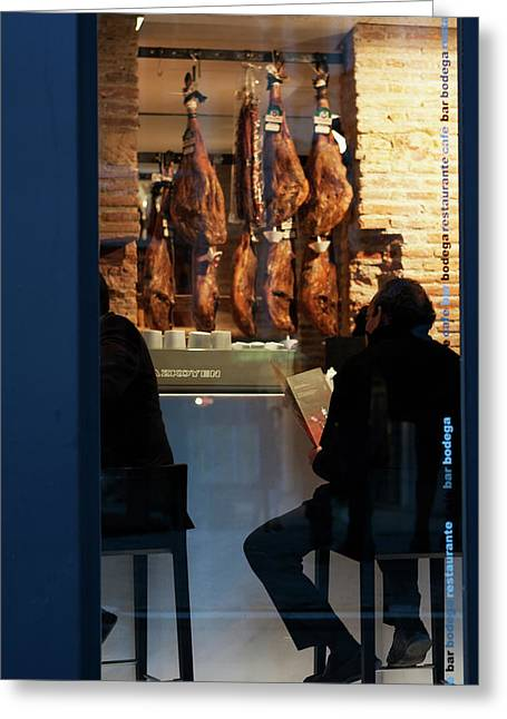Southern Province Greeting Cards - Blue Framed Jamon Greeting Card by Lorraine Devon Wilke