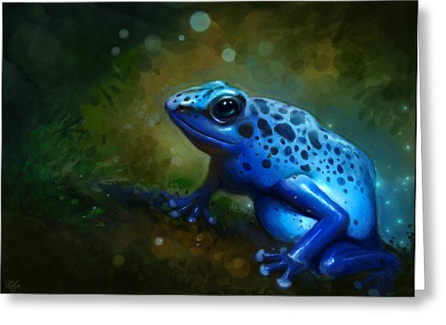 Frog Greeting Cards - Blue Frog Greeting Card by Caroline Jamhour