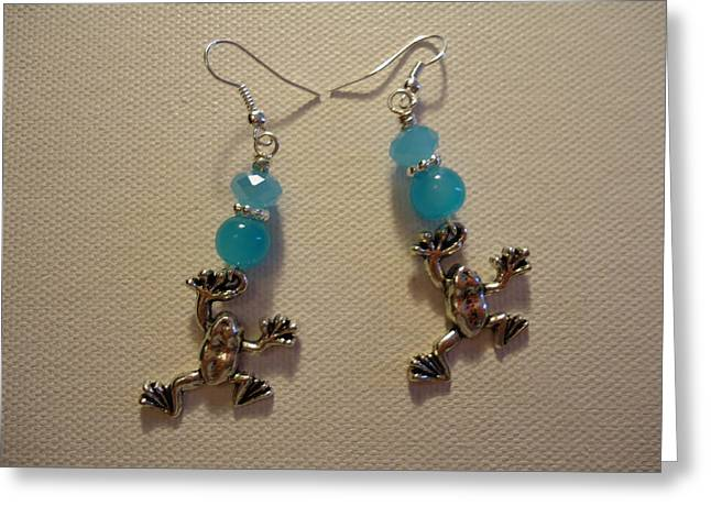 Amphibians Jewelry Greeting Cards - Blue Frog Earrings Greeting Card by Jenna Green