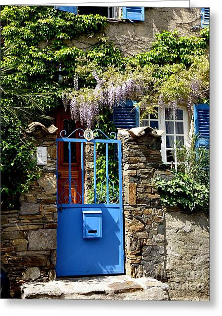 Lainie Wrightson Greeting Cards - Blue Garden Gate Greeting Card by Lainie Wrightson