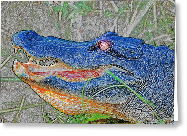 Florida Gators Digital Greeting Cards - Blue Gator Greeting Card by David Lee Thompson