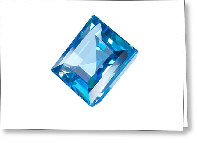 Stone Jewelry Greeting Cards - Blue Gem Isolated Greeting Card by Atiketta Sangasaeng