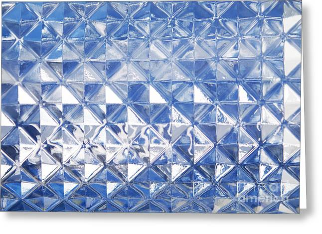 Squares. Linear Greeting Cards - Blue glass texture Greeting Card by Blink Images