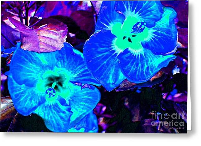 Wood Painitng Greeting Cards - Blue Glowing Hibiscus  Greeting Card by Annie Zeno