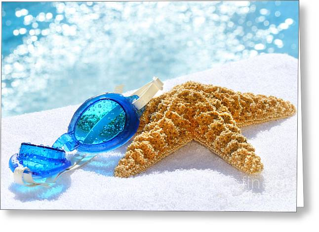 Diving Greeting Cards - Blue goggles on a white towel  Greeting Card by Sandra Cunningham