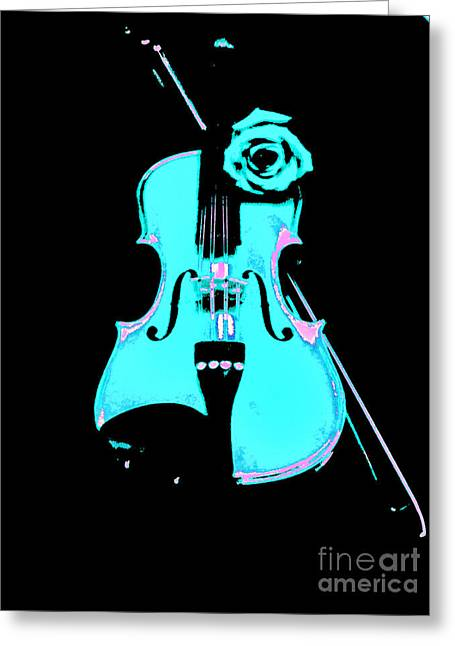 Turquoise Violin Greeting Cards - Blue Grass Fiddle Greeting Card by Marsha Heiken